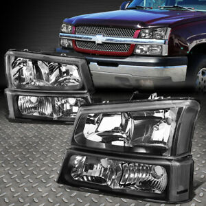 For 2003 2006 Chevy Silverado Black Housing Clear Side Headlight Lamp Set 4pcs