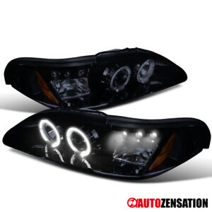 Glossy Black 94 98 Mustang Led Drl Halo Projector Headlights Smoke Head Lamps