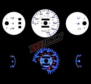 Blue Reverse El Indiglo Glow White Gauge Dash Face For 92 95 Civic Dx Lx 1 5l I4