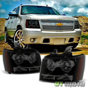 Black Smoke 07 13 Chevy Avalanche suburban tahoe Headlights Headlamps Left right