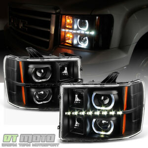 Black 2007 2013 Gmc Sierra 1500 2500hd 3500hd Smd Led Halo Projector Headlights