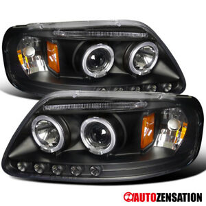 For 1997 2003 Ford F150 Expedition Black Halo Rims Projector Headlights