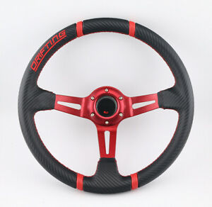 350mm Universal Titanium Black Spoke 6 Bolt Racing Steering Wheel