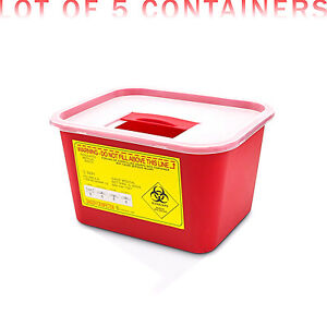 1 Gallon Sharps Container Syringe Needle Disposal Container 5 box