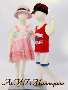 Two Mannequins christmas Display Full Body Flexible Kids Girl boy 2 Children r8