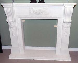 Elegant White Hand Carved Marble Fireplace Mantel 3795 French Influence