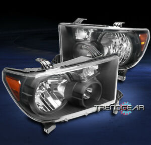 For 2007 2013 Toyota Tundra 2008 Sequoia Truck Headlights Lamps Black Amber