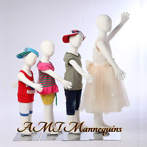 4 Child Mannequins Full Body Removable Heads Flexible Pinnable 4children r3468