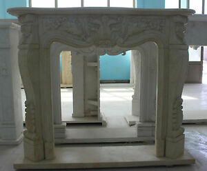 Marble Fireplace Mantel In Egyptian Beige French Design Carved Sku 1088