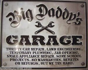 Vintage Tin Sign Busted Man Cave Big Daddy S Garage Knuckle Shop Tool Work 98322