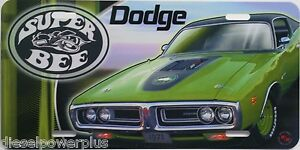 Dodge Super Bee Car Wing License Plate Engine Sign Decal Tag Red Racing Mopar