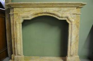 Classic French Design White Marble Fireplace Mantel Floral Carvings