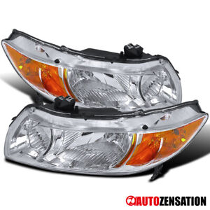 Fits 2006 2011 Honda Civic 2dr Coupe Pair Crystal Headlights Amber Signal Lamps