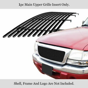 Fits 1998 2000 Ford Ranger Main Upper Stainless Steel Black Billet Grille Insert