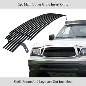 Fits 2001 2004 Toyota Tacoma Main Upper Stainless Black Billet Grille Insert