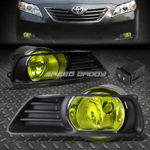 For 07 09 Toyota Camry Amber Lens Bumper Driving Fog Light Lamps W Bezel Switch