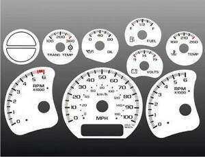 1999 2002 Chevrolet Truck Silverado Dash Cluster White Face Gauges 99 02