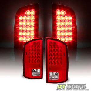 2007 2008 Dodge Ram 1500 07 09 2500 3500 Red Clear Led Tail Lights Signal Lamps