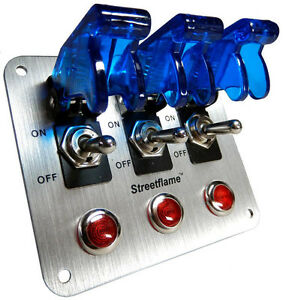 3 Toggle Switch Led Nitrous Activate Panel Blue Safety Covers Aircraft 12 Volt