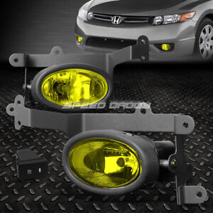 For 06 08 Honda Civic Coupe Amber Lens Bumper Driving Fog Light Lamps W Switch