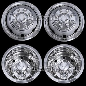 Chevy 3500 16 Dual Steel Wheel Simulators Dually 8 Lug Rim Skins Liners Covers