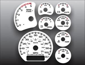 2001 2002 Chevrolet Silverado 2500 3500 Duramax Dash Cluster White Face Gauges