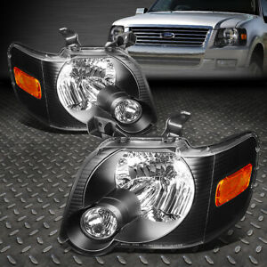 For 2006 2010 Ford Explorer Pair Black Housing Amber Corner Headlight Lamp Set