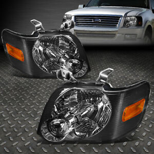 For 06 10 Ford Explorer Sport Trac Smoked Housing Amber Corner Headlight Lamps