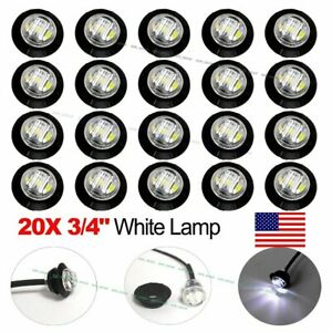 20x Mini 3 4 White Led Clerance Marker Bullet Lights Lamp For Truck Trailer Bus
