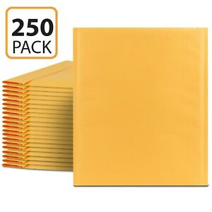 Fosmon 0 6 5 X 10 250 Pack Wide Kraft Bubble Mailer Padded Envelope Fit Cd Dvd