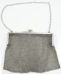 Antique R Blackinton Co Sterling Silver Mesh Purse With Chain 4681 Engraved