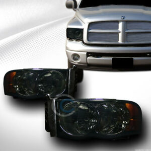 Euro Smoke Tint Headlights Lamps Signal Amber Dy For 2002 2005 Dodge Ram Truck