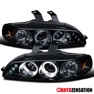 For 1992 1995 Honda Civic Black Smoke Halo Projector Headlights Led Drl Signal