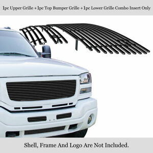 For 2003 2006 Gmc Sierra 1500 2500hd 3500 Stainless Black Billet Grille Combo