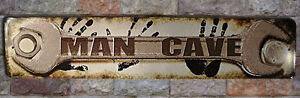 Man Cave Wrench Hand Snap Sign Plate Tag Shop Street St Dad Tin Busted Garage On