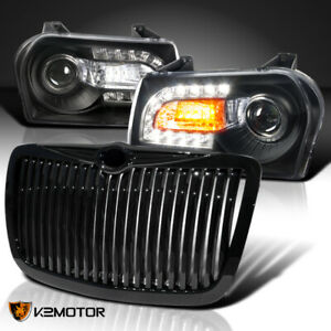 For 2005 2010 Chrysler 300 Black Led Signal Projector Headlights vertical Grille