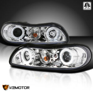 1997 2003 Chevy Malibu Halo Led Projector Headlights Lamps Chrome