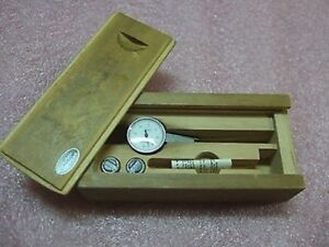 Carl Mahr Vintage 0 40 0 Metric Puppitast Dial Test Indicator 0 01mm Wood Case
