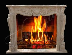 French Design Hand Carved Marble Fireplace Mantel