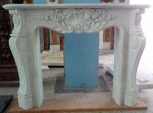 Hand Carved French Design White Marble Fireplace Mantel 4282