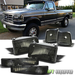Smoked 92 96 Bronco F150 F250 F350 Headlights signal Cornerlights bumper Lamps