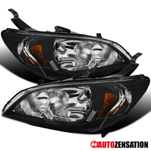 For 2004 2005 Honda Civic Dx Ex Coupe Sedan Jdm Black Headlights Head Lamps Pair