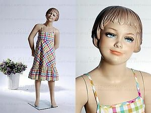 Child Mannequin Standing Happy Girl Doll Hand Made Fiberglass Manikin Kris