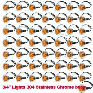 50x 12v Amber 3 4 Round Side 3 Led Marker Trailer Bullet Chrome Stainless Lamps