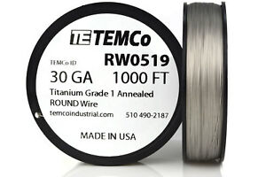 Temco Titanium Wire 30 Gauge 1000 Ft Surgical Grade 1 Resistance Awg Ga