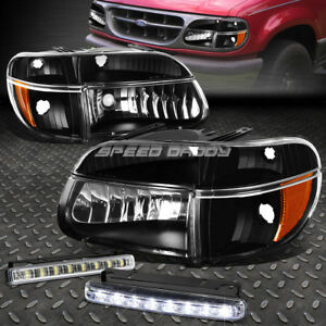 Black Headlight Bumper Corner Led Fog Light For 95 01 Ford Explorer Mountaineer