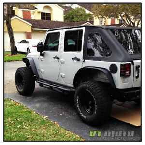 4pcs 2007 2017 Jeep Wrangler Textured Steel Flat Style Fender Flares Left right