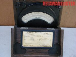 Antique Vintage Radio Dc Voltmeter Wood Case 0 50vdc Tested Weston