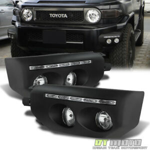 For 2007 2014 Toyota Fj Cruiser Black Bumper Fog Lights Led Drl Driving Lamps