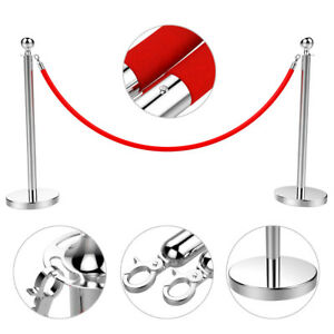 2pcs Stanchion Post Crowd Control Barrier Retractable Belt Stanchions Queue Pole